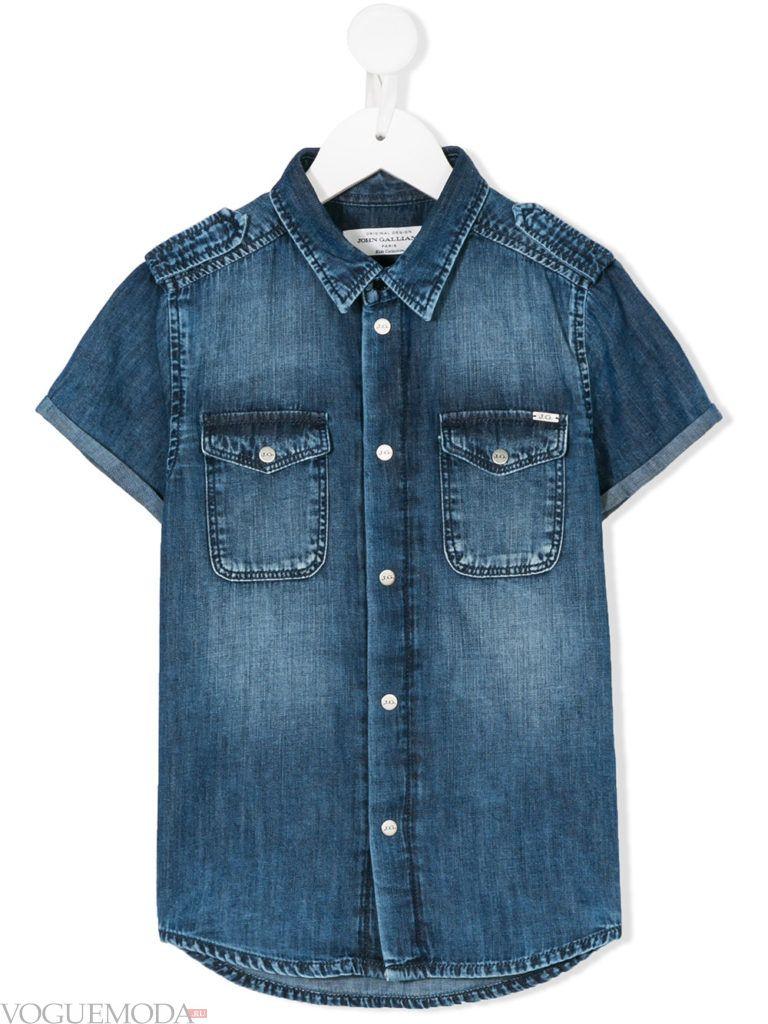 детская джинсовая рубашка с короткими рукавами