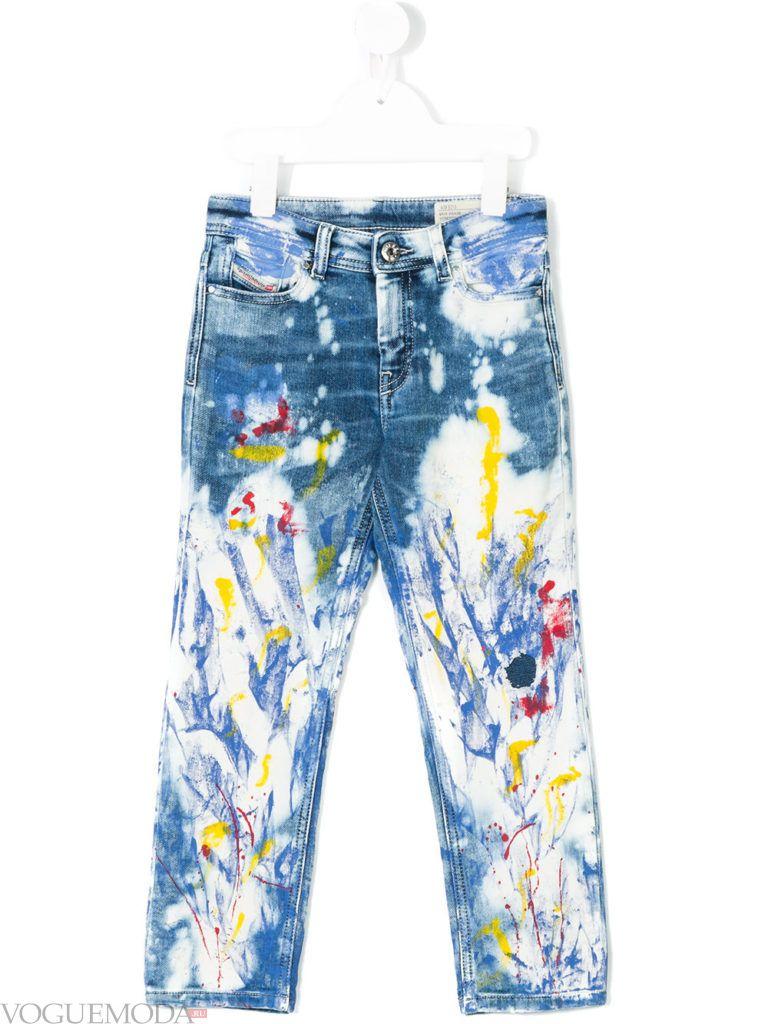 детские джинсы с ярким декором