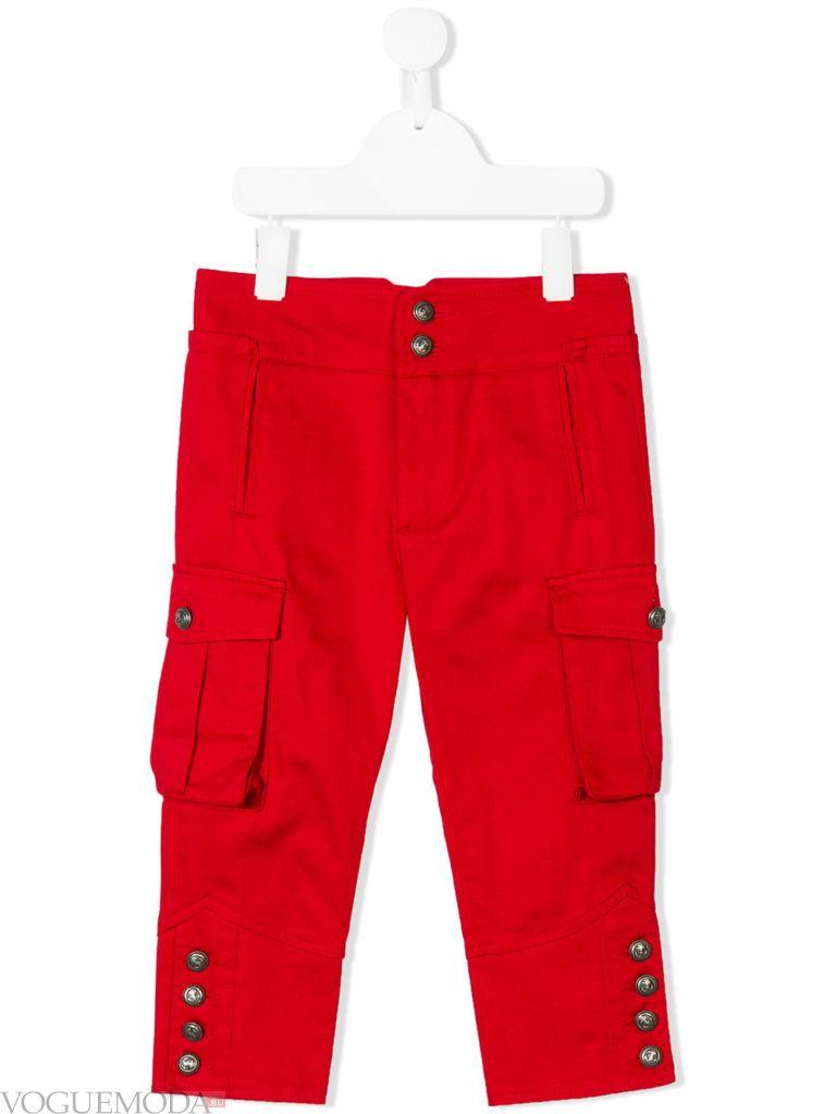детские красные брюки с накладными карманами