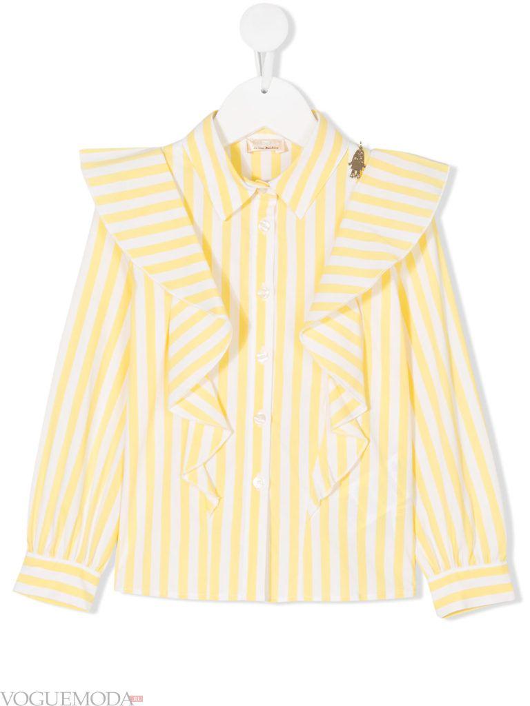 детская блузка в полоску с оборками