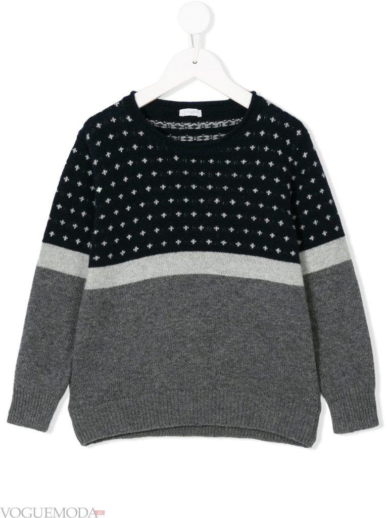 детский двухцветный свитер