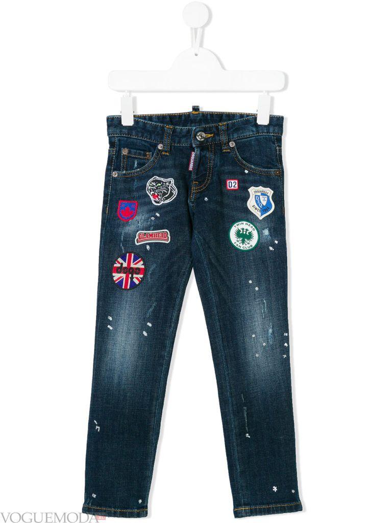 детские джинсы с декором весна