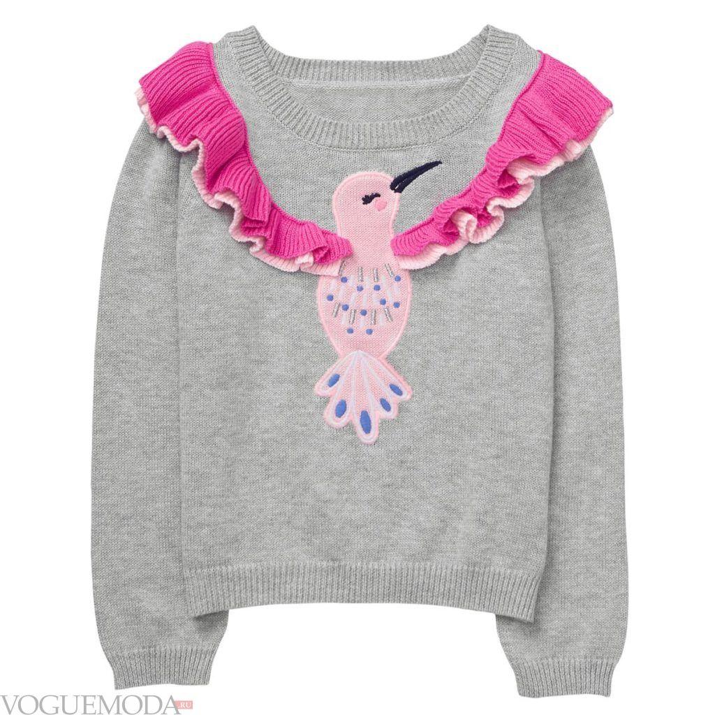 детский серый свитер с декором весна