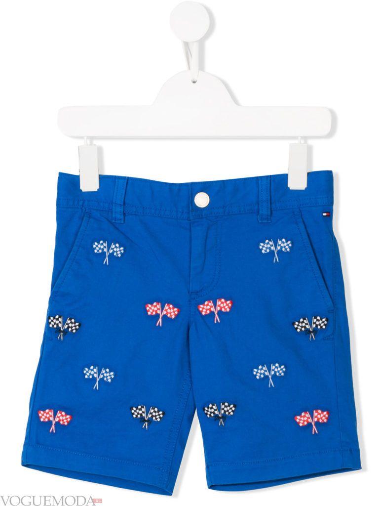 детские синие шорты с принтом