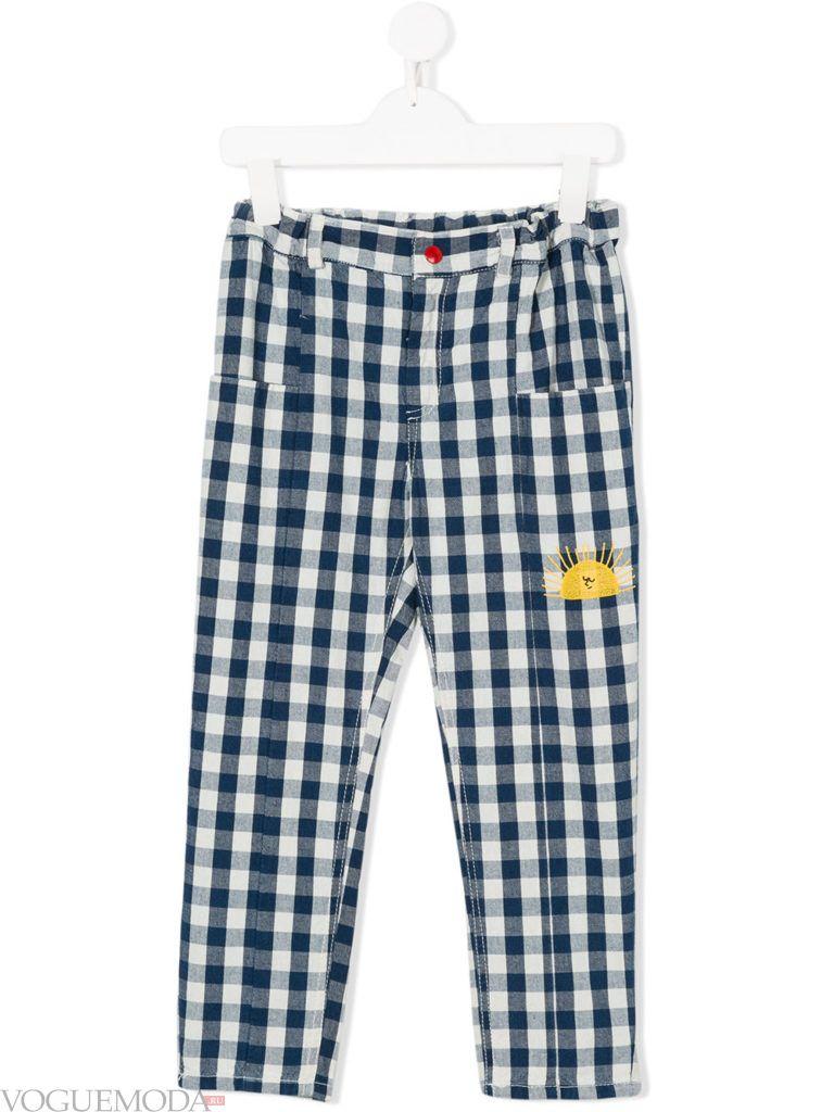 детские брюки в клетку лето
