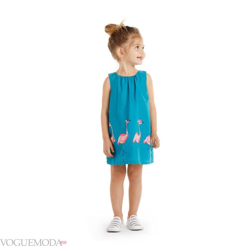 детское синее платье с принтом лето