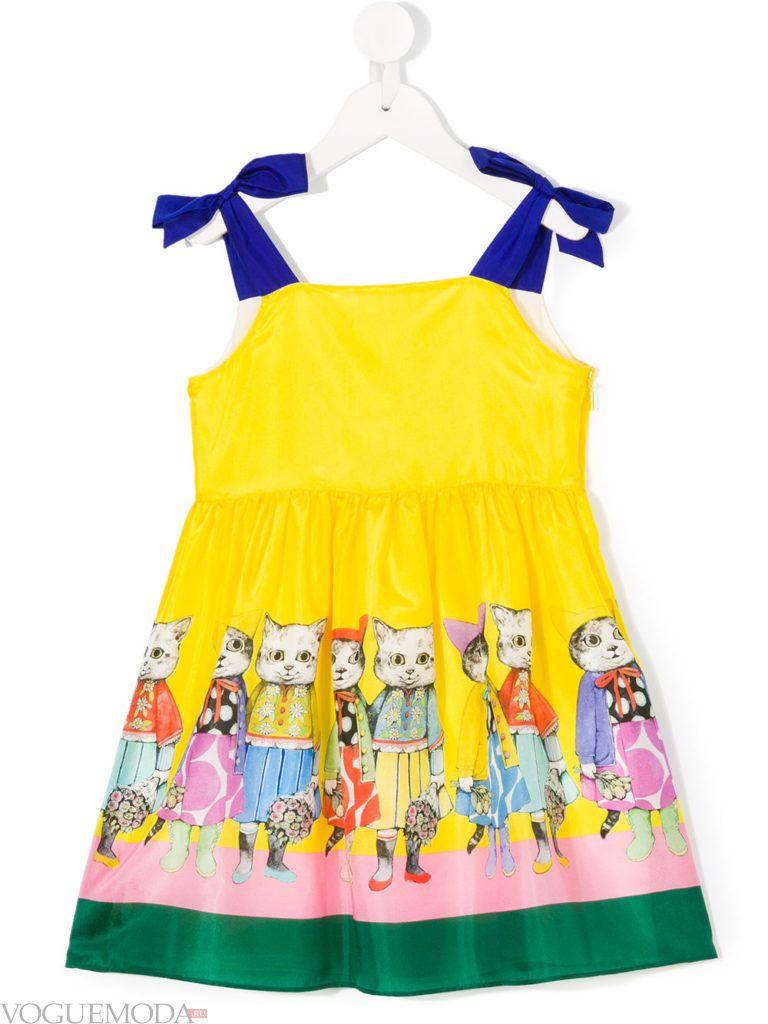 детское желтое платье с принтом лето