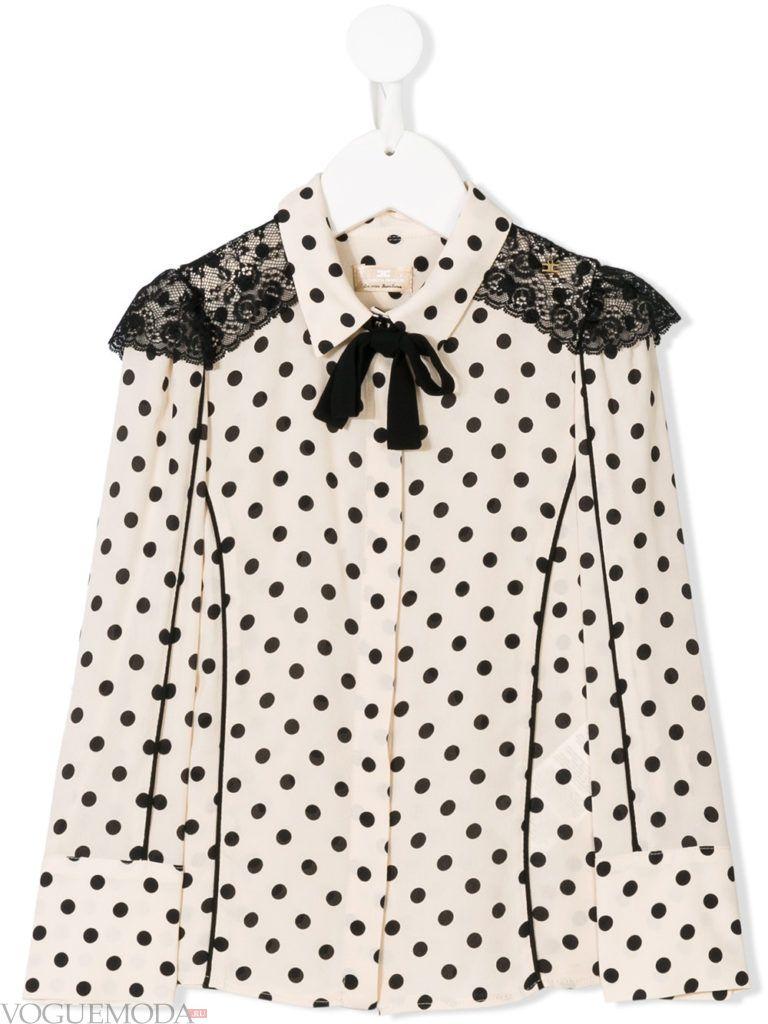 детская блузка в горох