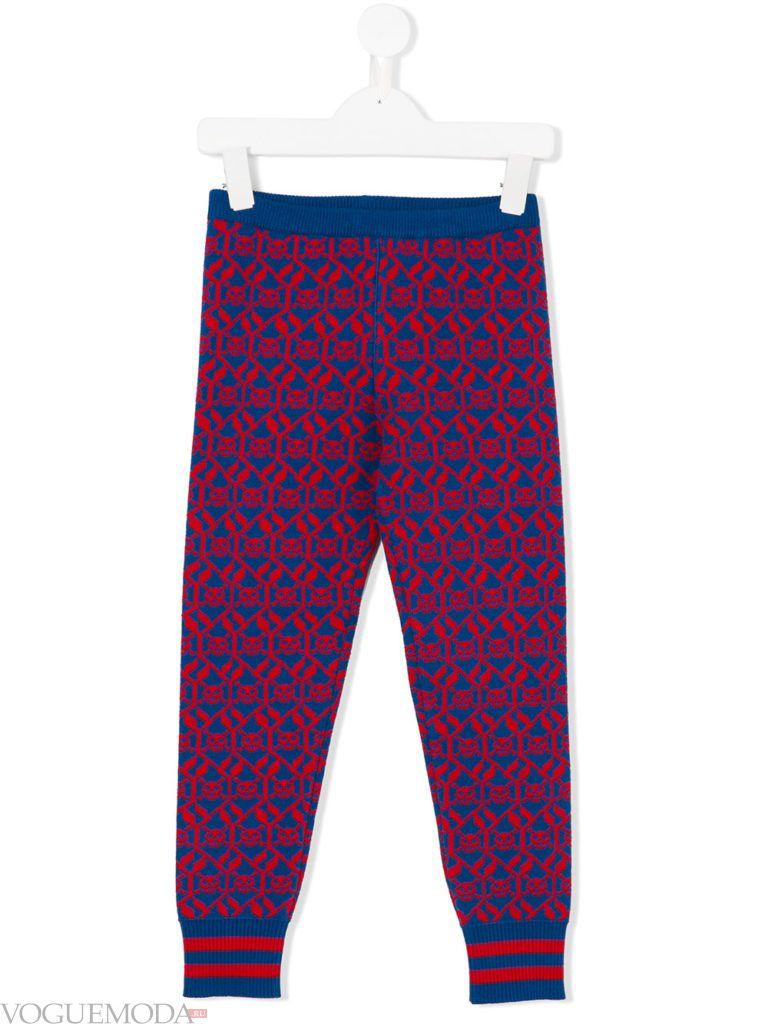 детские трикотажные брюки с принтом осень