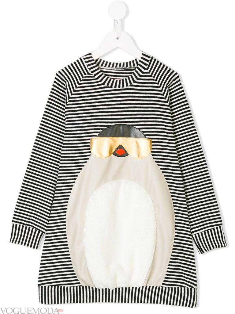 детское зимнее платье в полоску с декором