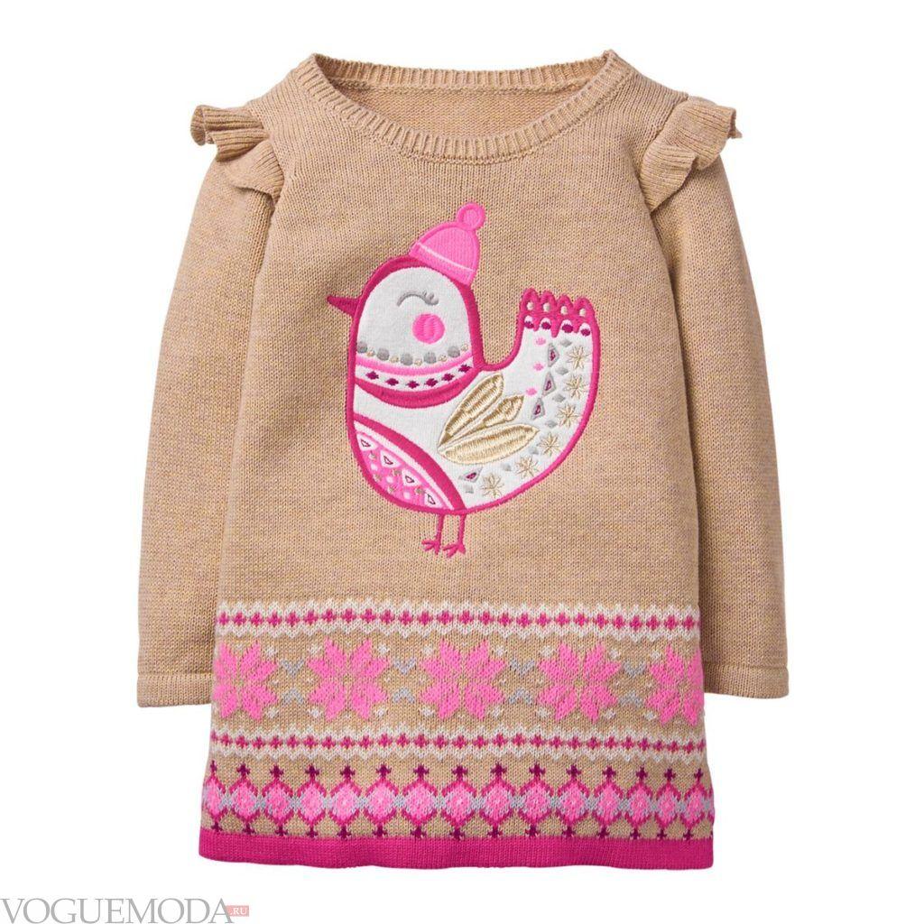 детское трикотажное зимнее платье с оборками
