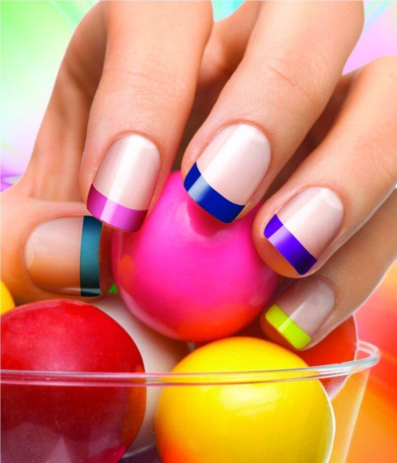 разноцветный весенний френч