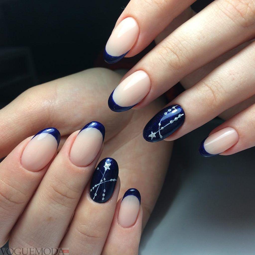 синий фан френч с декором