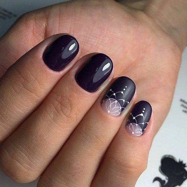 черные ногти с декором