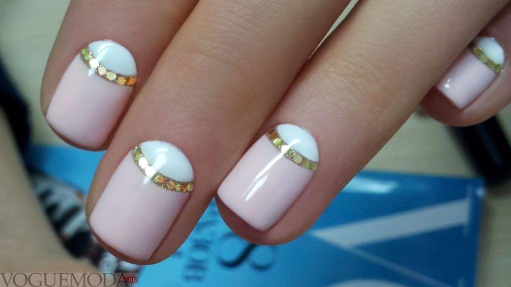 двухцветные ногти с полоской