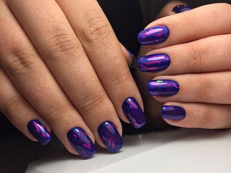 фиолетовый маникюр битое стекло