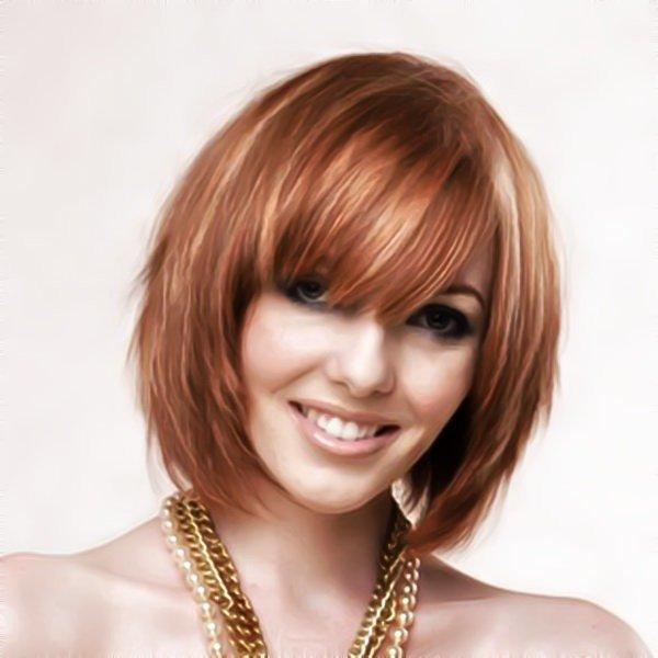 стрижка каскад на короткие рыжие волосы