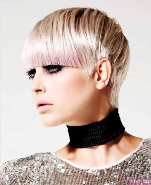 креативная стрижка на короткие волосы с челкой