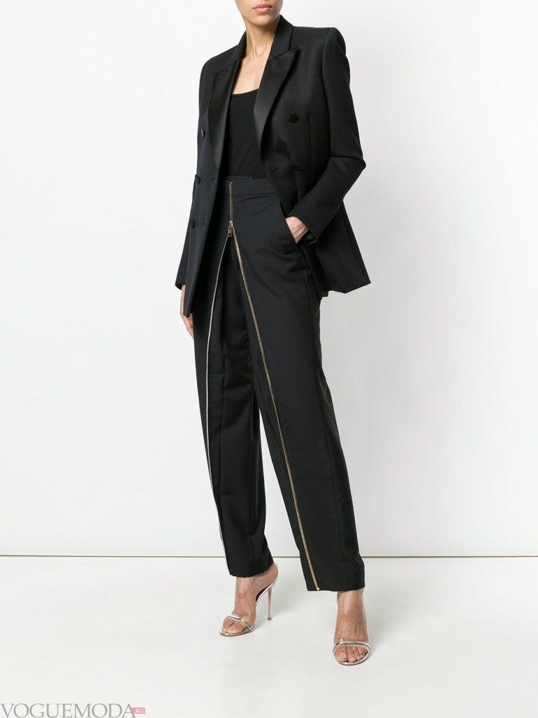 черные брюки на молнии и пиджак