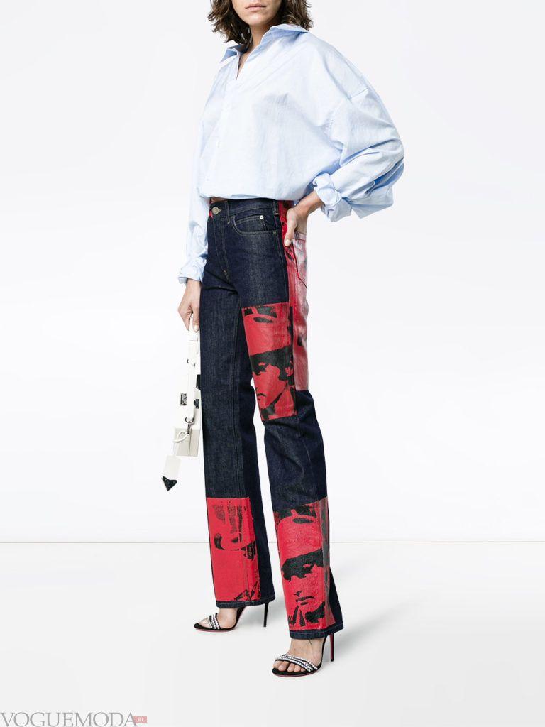 джинсы с декором и блуза