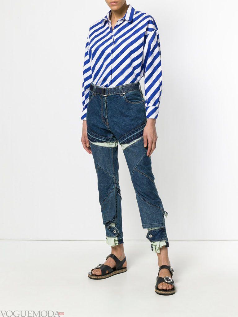 джинсы трансформер и блуза в полоску
