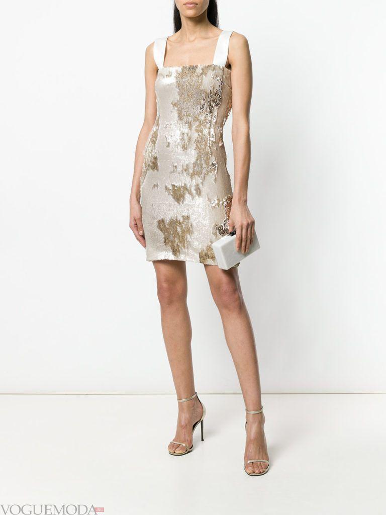 белое мини платье с блестками