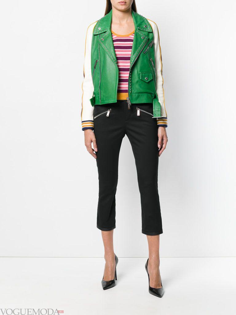 кожаная контрастная куртка и брюки
