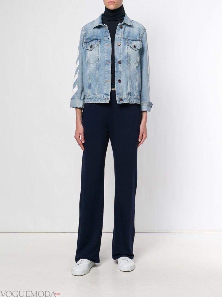 черная водолазка с синими брюками и джинсовой курткой