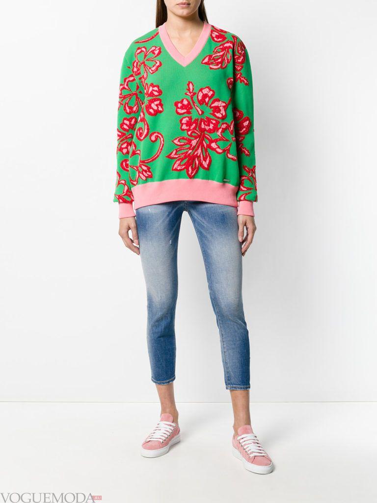 джинсы скинни и свитшот с принтом кому за 30