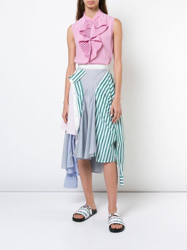 асимметричная юбка и топ с жабо лето