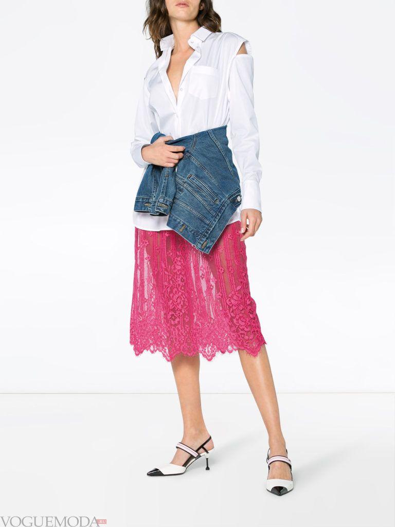 платье рубашка с кружевом и джинсой кому за 30