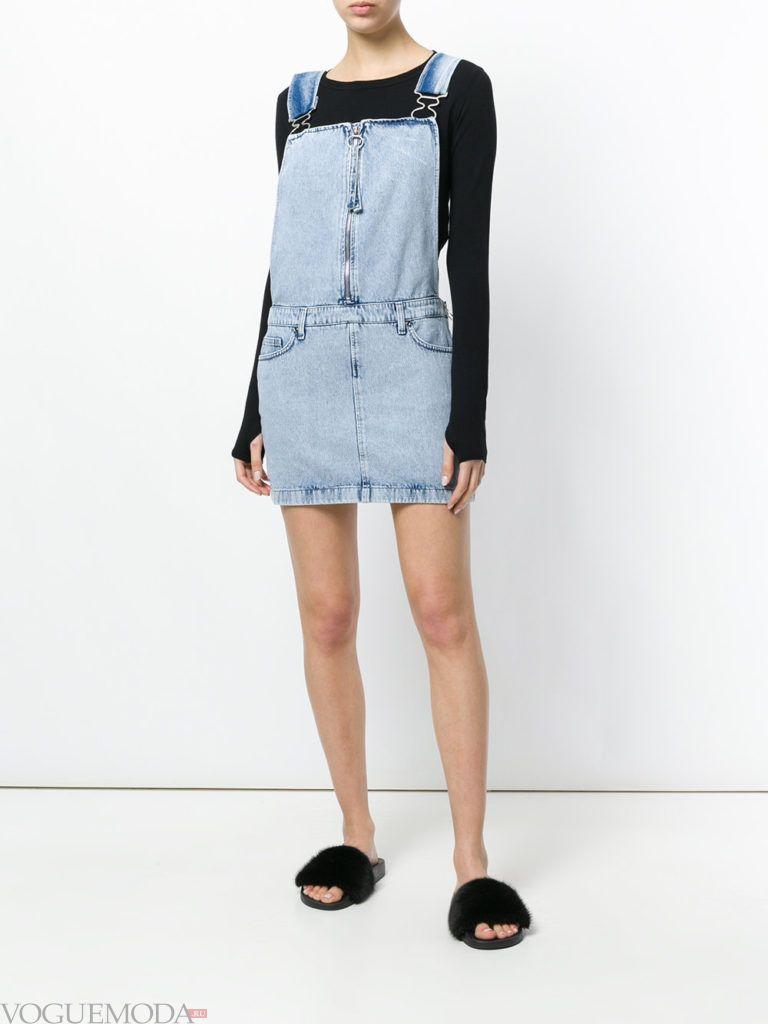 джинсовый короткий сарафан и кофта кому за 30