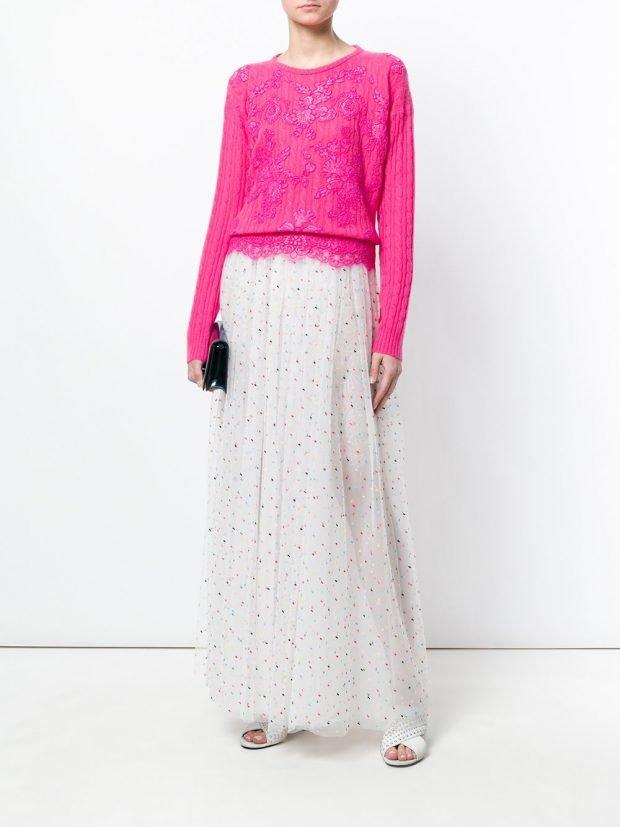розовый свитшот и юбка макси