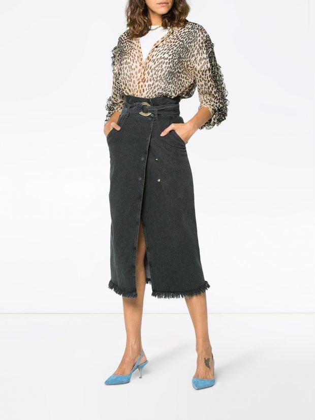 блуза с хищным принтом и юбка с запахом