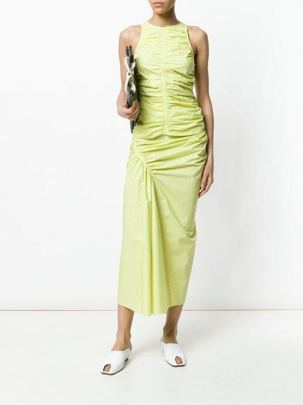 лимонный комплект с юбкой со сборкой