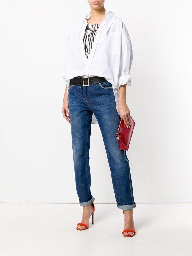 джинсы бойфренд и белая блуза