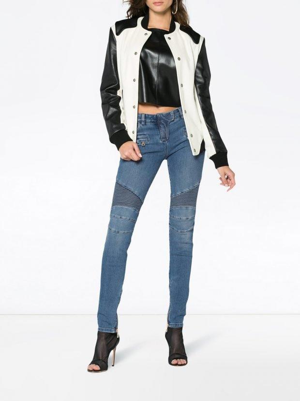 джинсы скинни и двухцветная куртка весна