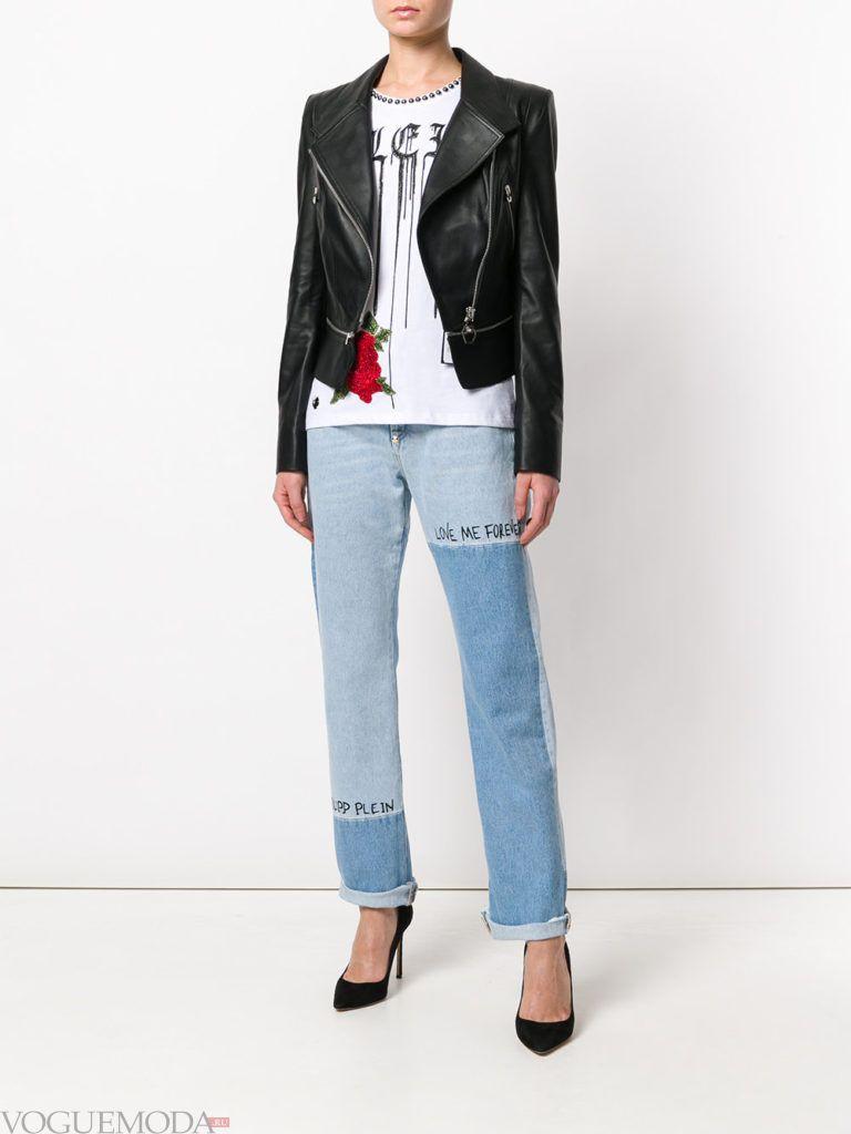 укороченные джинсы и косуха весна