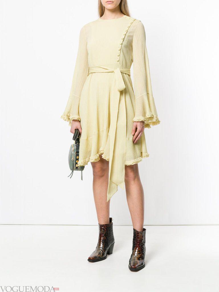 желтое платье клеш весна