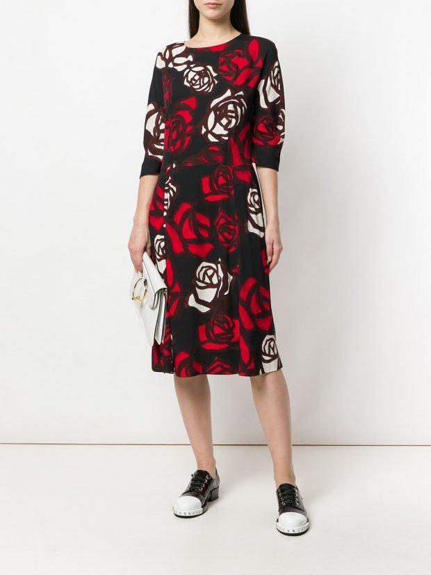 платье миди с принтом весна