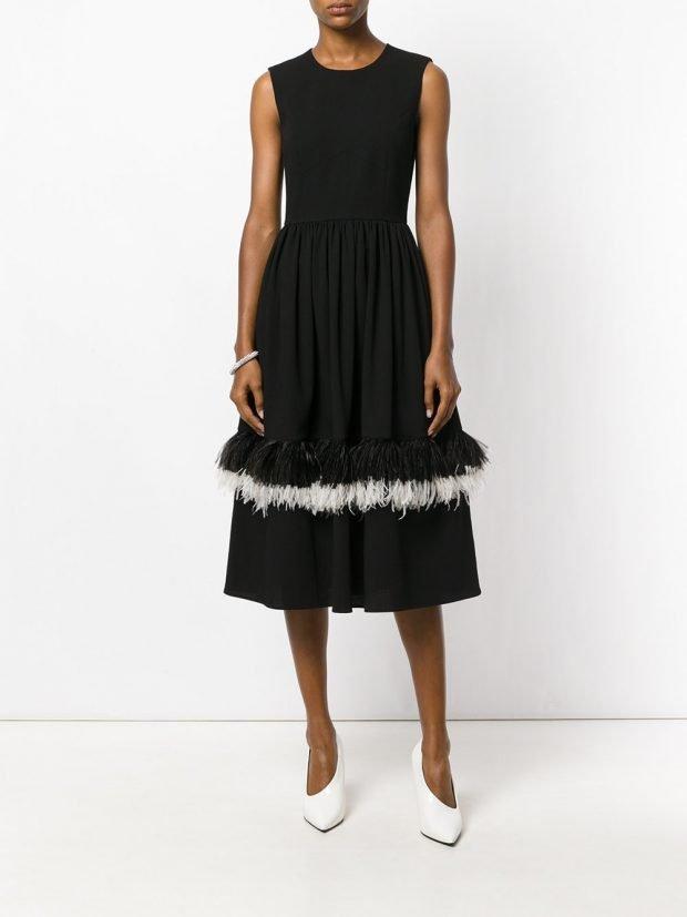 платье миди с перьями весна