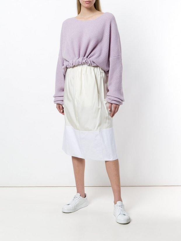 юбка миди и свитер оверсайз