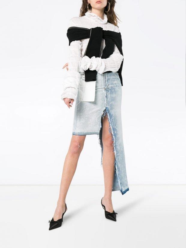 джинсовая юбка и блуза кому за 30