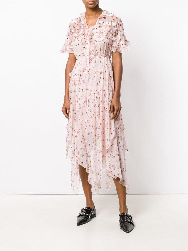 асимметричное платье с принтом лето