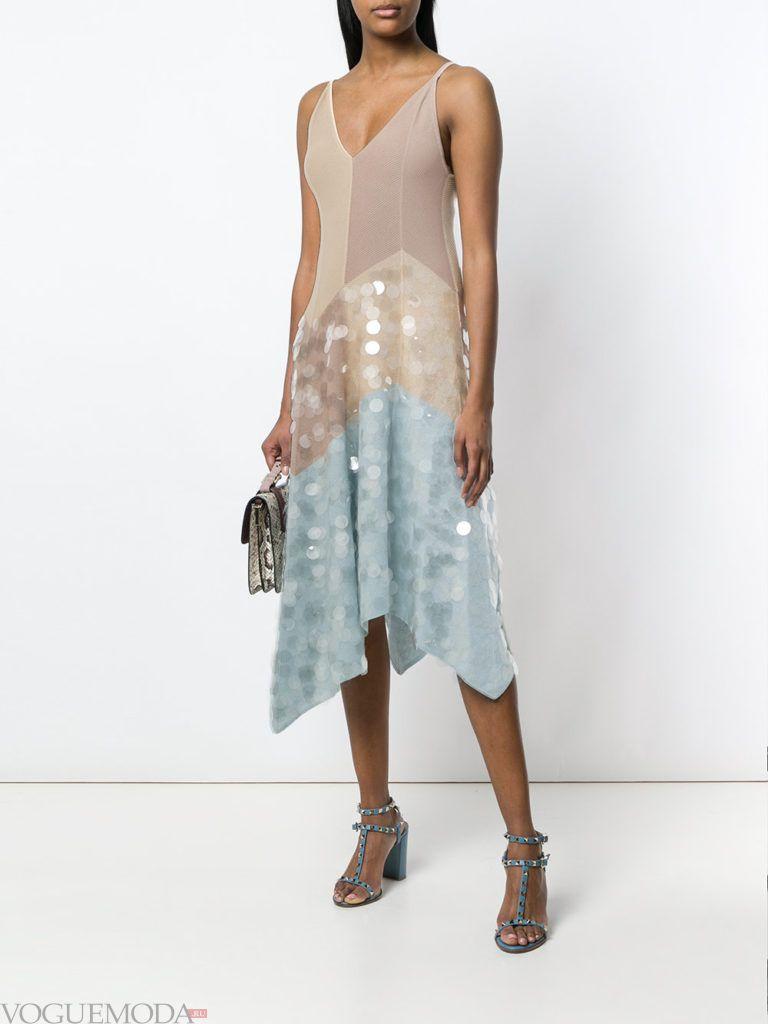 блестящее двухцветное платье лето