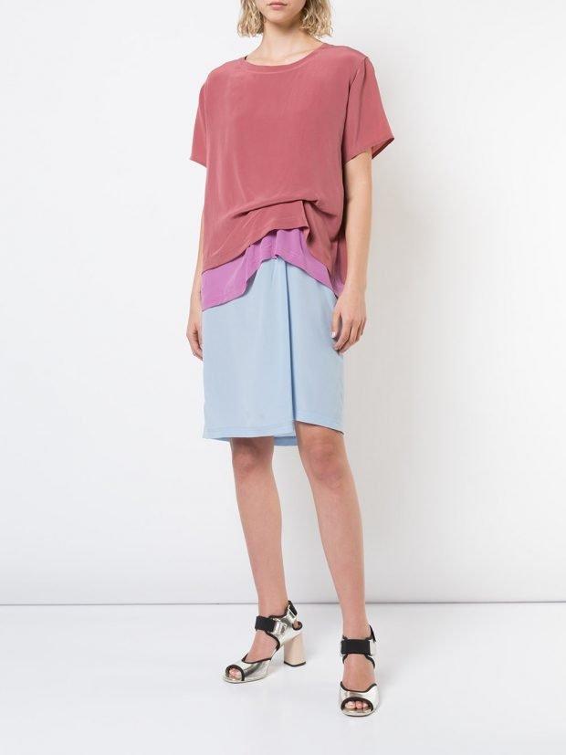 платье со сборкой колорблок ком уза 40