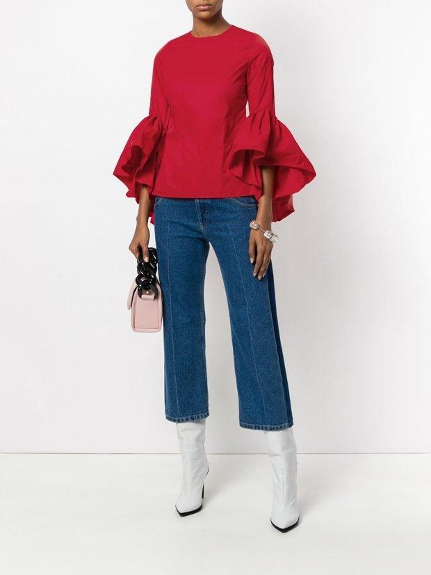 джинсы кюлоты и блузка с оборками