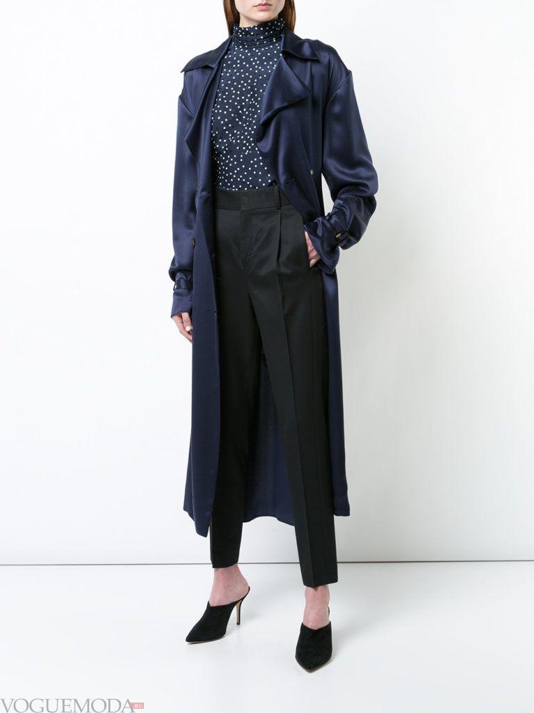 черные брюки и шелковый тренч