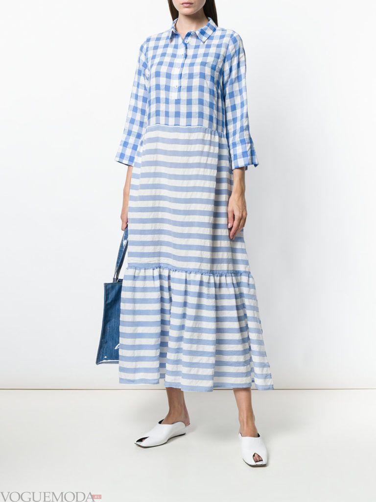 платье миди с принтом и оборками весна