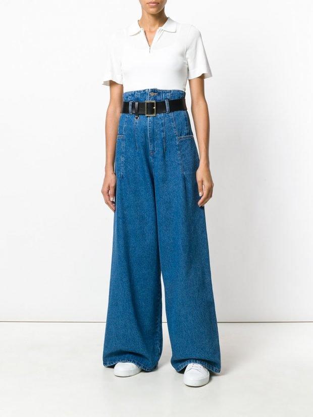 джинсы клеш и белая блузка лето